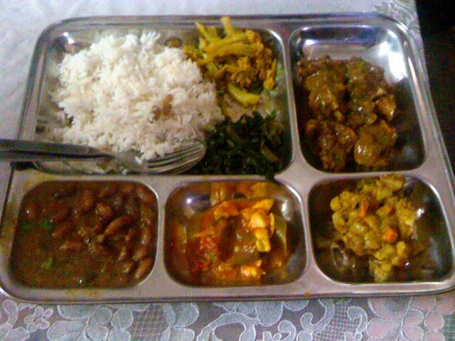 Another traditional nepali thali - Rice, Cauli- Potate Tarkari, Goat ...