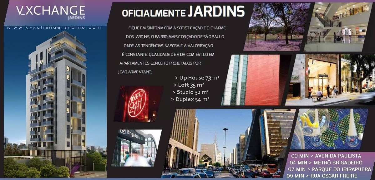 V-XCHANGE Jardins Apartamentos 35e54m² no Jardins. R Batataes 80, Jardim Paulista-S.Paulo-SP-Brasil