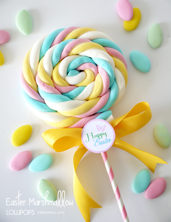 Free Printable Easter Tags and DIY Marshmallow Lollipops