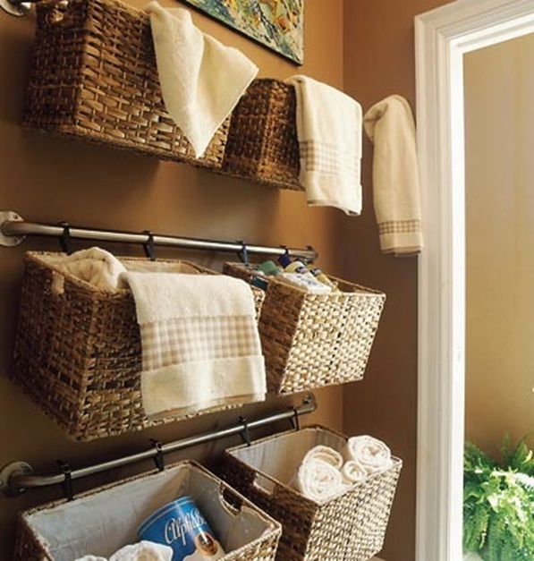 Ideas Toalleros Baño:Bathroom Hanging Storage Basket