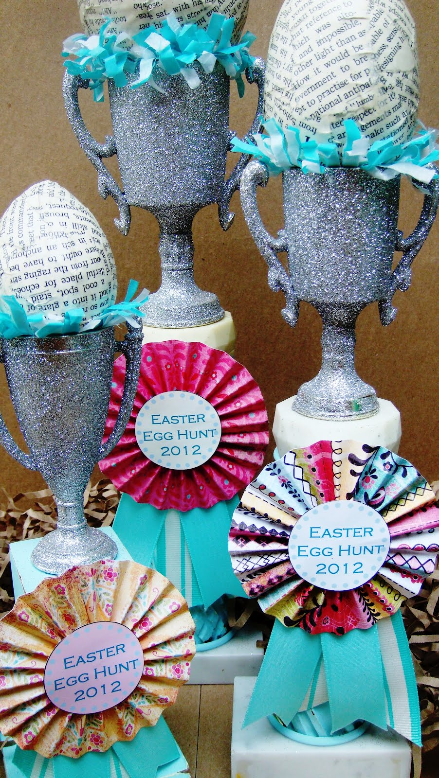 How to make rosettes out of paper - Glue Some Frilly Blue White Tissue Paper Garland From Melissa Frances Inside The Trophy Cup Edge 7 Make Accordian Rosettes Out Of Paper