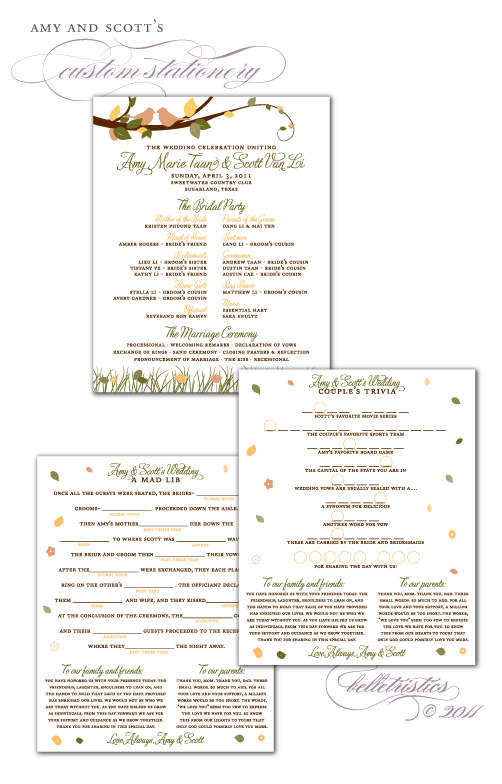 custom spring leaves lovebirds ceremony program design