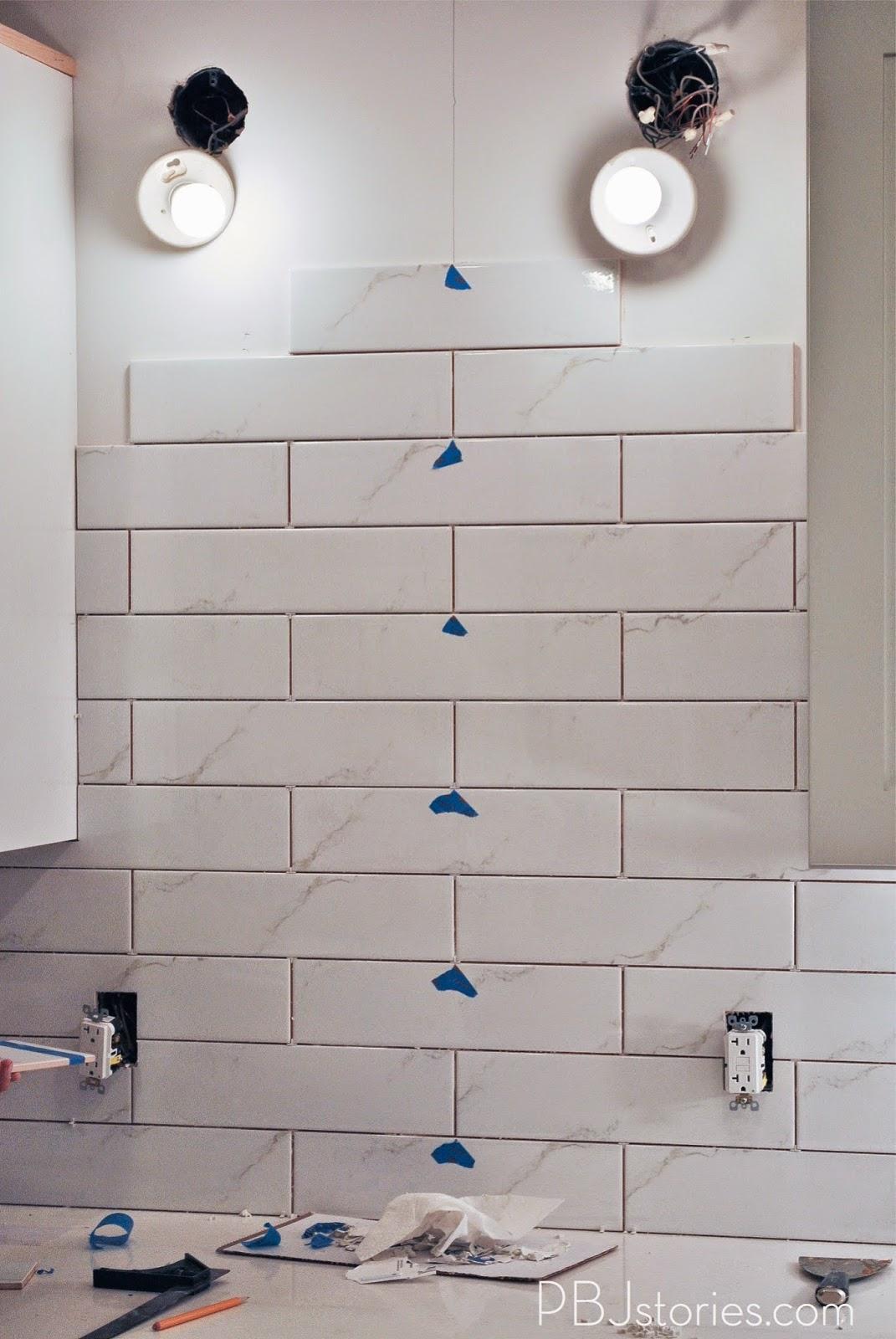 Pbjstories Installing Subway Tile For Kitchen Backsplash
