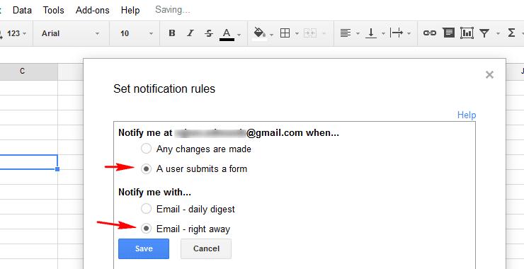 Spreadsheet change notification rules