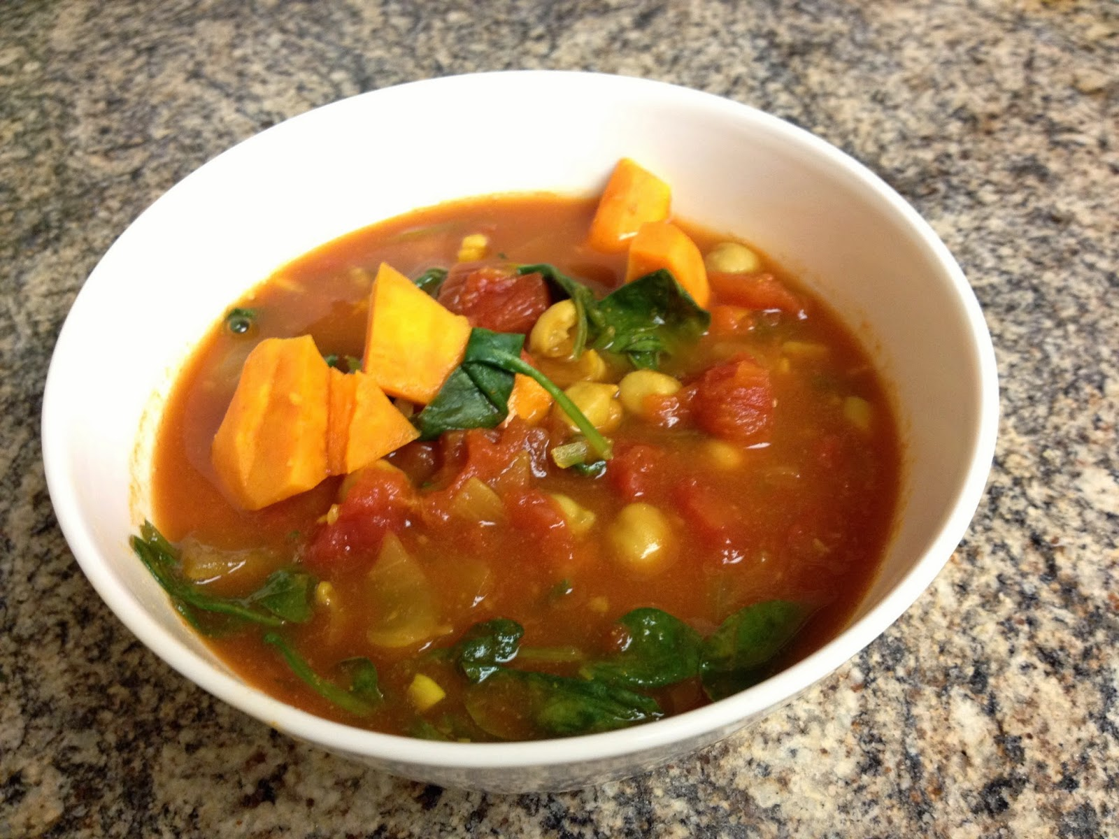 Yam, Chickpea & Spinach Curry Soup