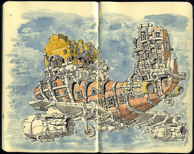 08-Baroque-Airlines-New-Airplane-Mattias-Adolfsson-Surreal-Architectural-Moleskine-Drawings-www-designstack-co