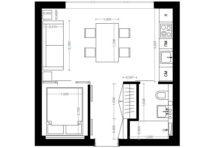 blog achados de decora o pequeno apartamento ou kitnet um projeto de 30 m2. Black Bedroom Furniture Sets. Home Design Ideas