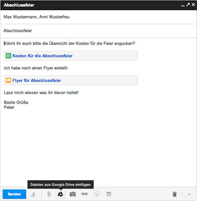 Ansicht einer E-Mail in Gmail, in die Google Drive-Dateien aingefügt wurden.