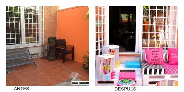 Antes y despues terraza decorar tu casa es for Decoracion de casas con material reciclado
