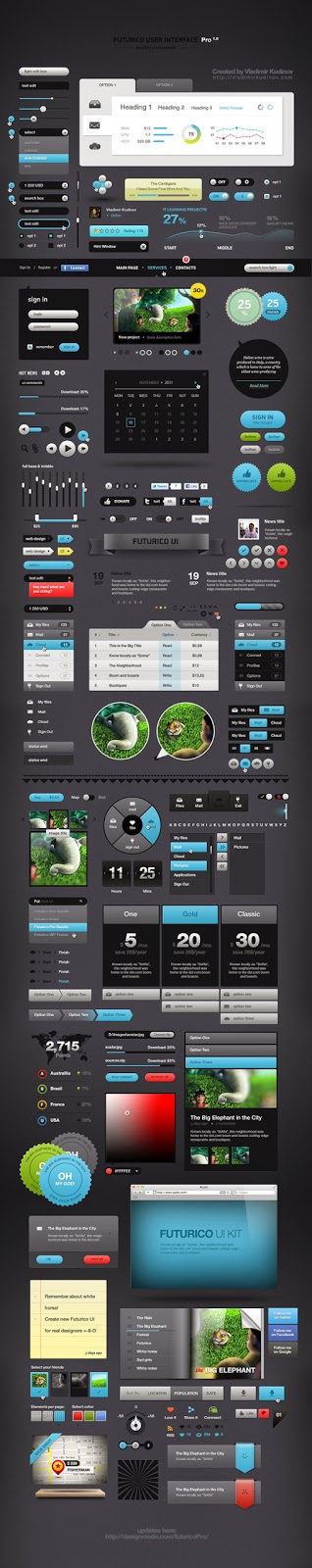 Futurico UI Elements Pack PSD