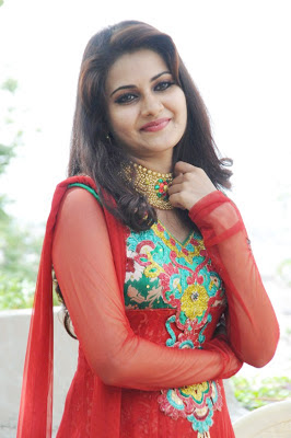 Mano Chitra Latest Photos in Red Shalwar Kameez