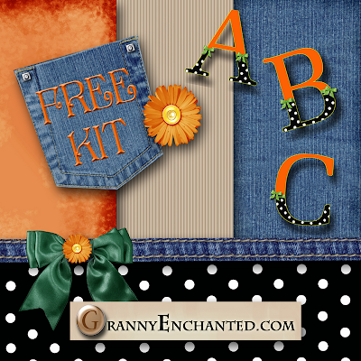 Free Orange Polka Digital Scrapbook Kit