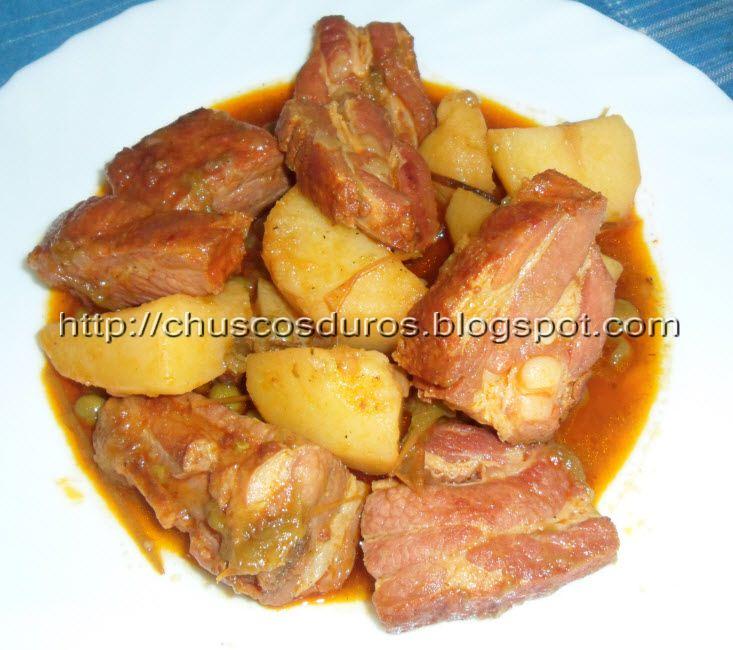 Chuscos duros costillas de cerdo adobadas con patatas - Patatas con costillas de cerdo ...
