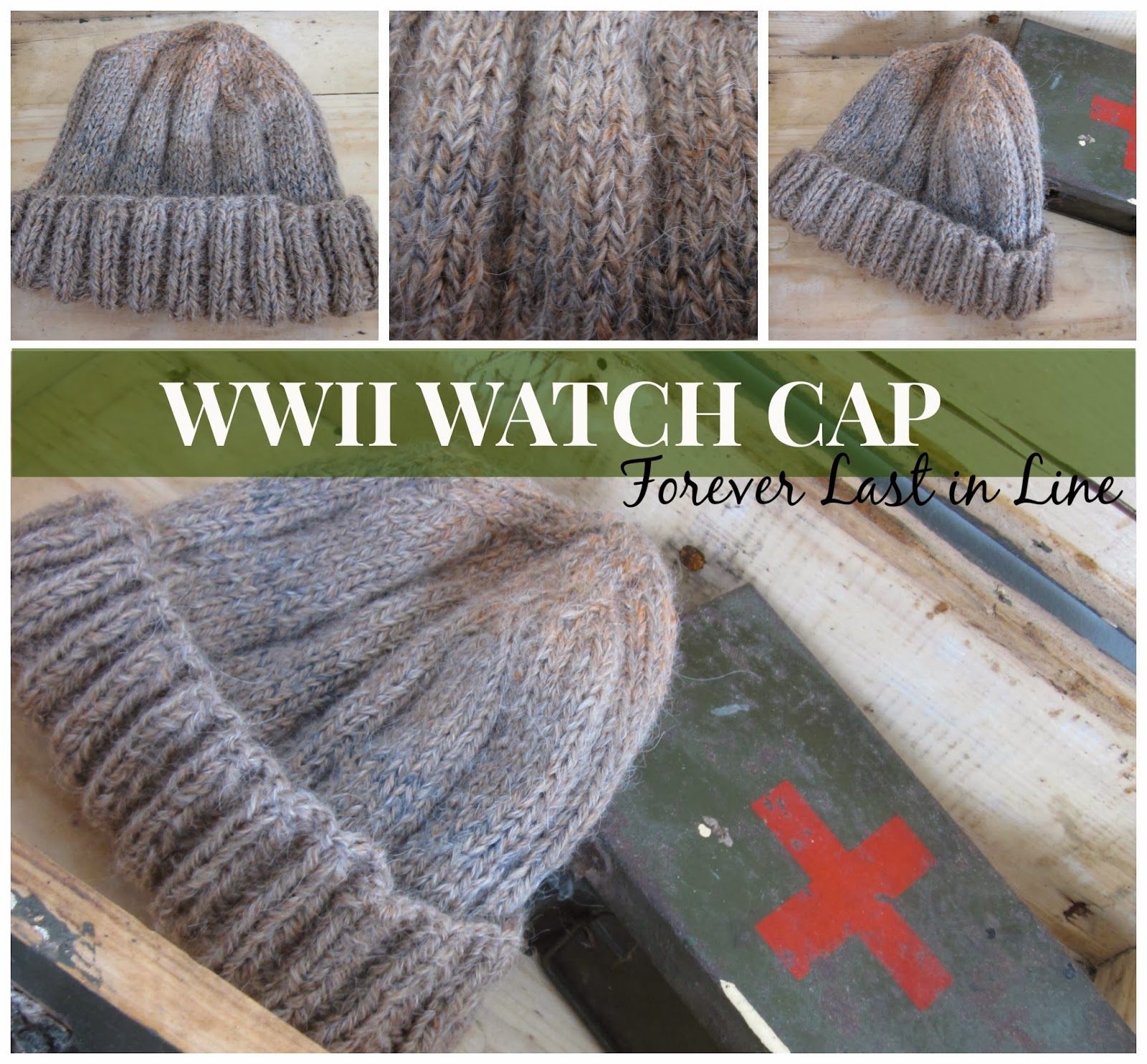 Knitted Watch Cap Pattern : Forever Last In Line: WWII Watch Cap: Free Pattern and Reflections on the Past