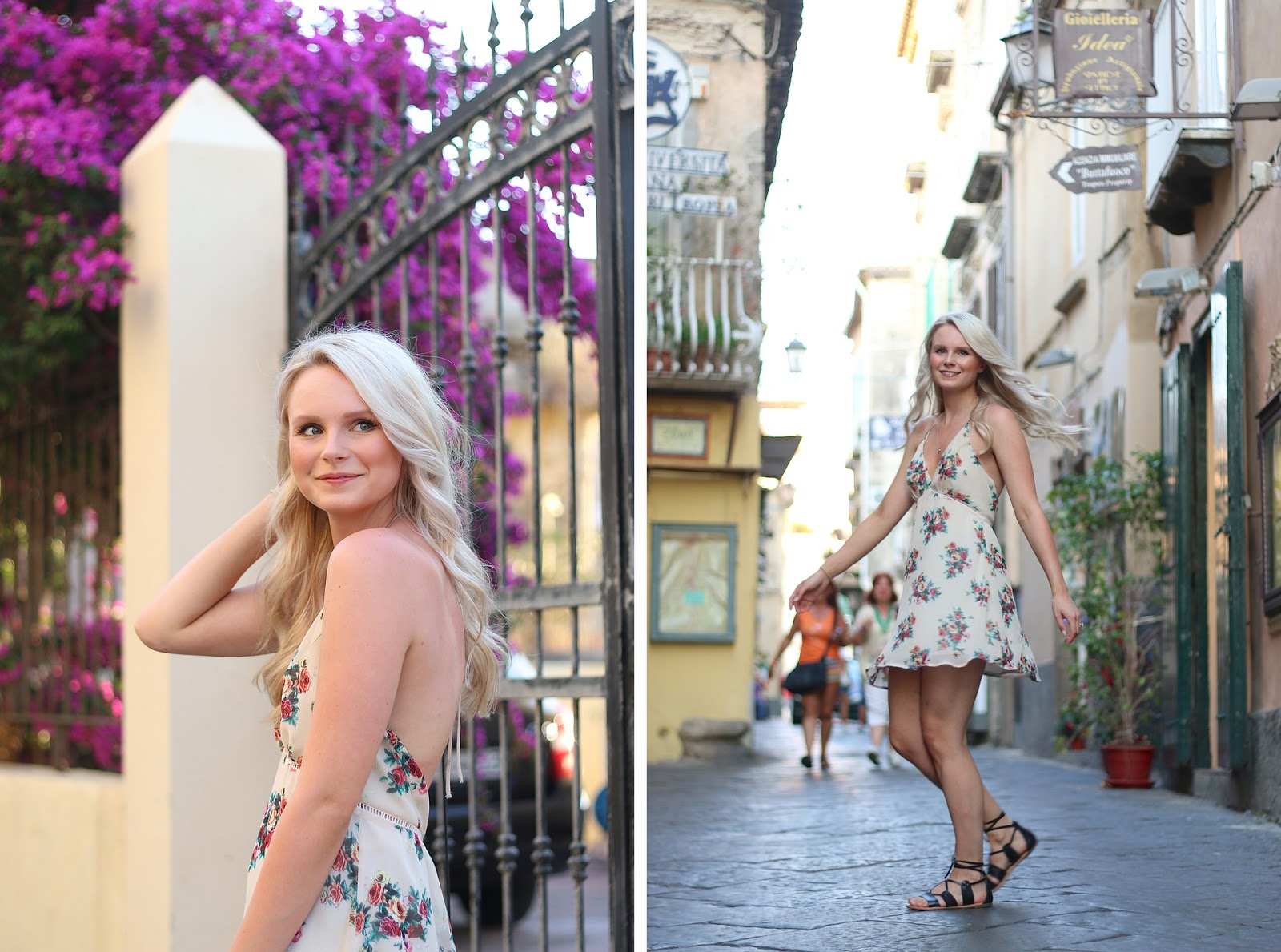 a blonde girl happily twirls in the streets of italy while on holiday, wearing a cute floral dress