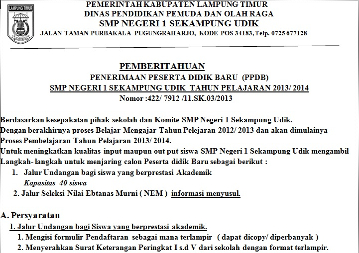 BARU (PPDB) SMP NEGERI 1 SEKAMPUNG UDIK TAHUN PELAJARAN 2013/ 2014