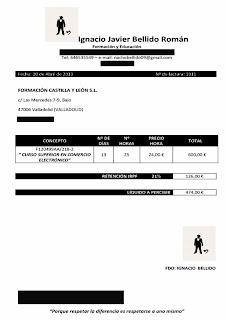 El importe de la Factura impagada por Formación Castilla y León asciende a 600€ brutos