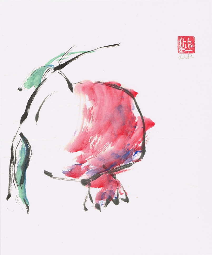 "To Create Selflessly ""Tao Te Ching"" verse 7 for Artists blog article sumi-e painting of wilting flower."