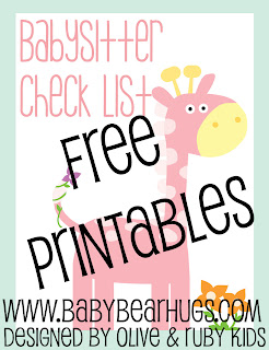 free babysitter checklist printables by olive & Ruby Kids