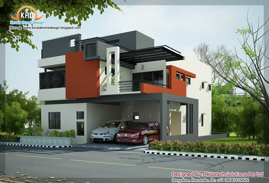 Exterior collections kerala home design 3d views of for Modern style homes