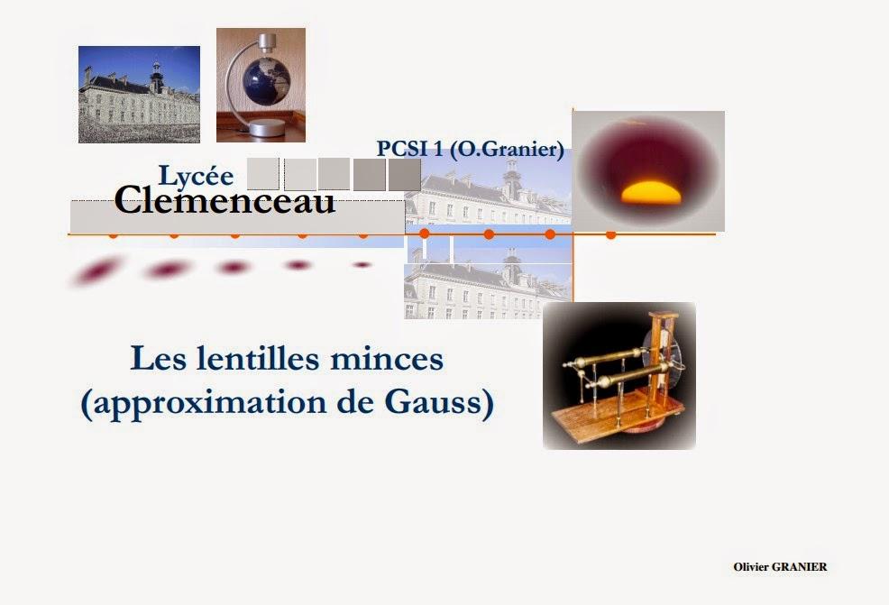 cours complet d'optique géométrique Les Lentilles minces