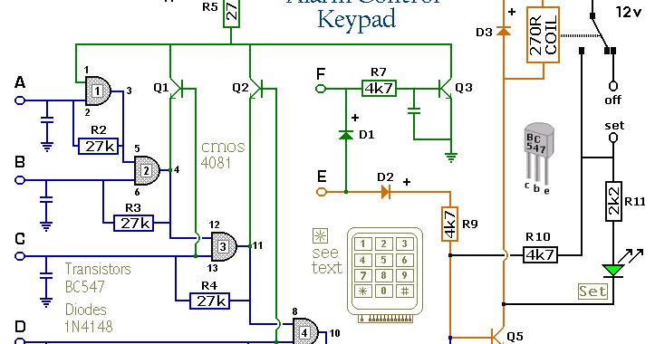 Four Digit Alarm Control Keypad Circuit Diagram