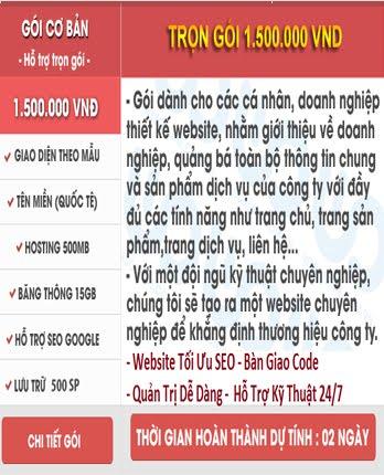 Thiết Kế Trang Web Trọn Gói Gía 1Triêu500k