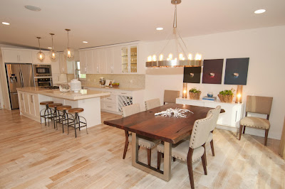relaxing open plan living including kitchen and dining area in natural hues
