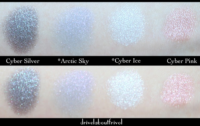 Estee Lauder eyeshadow swatches Cyber Silver, Arctic Sky, Cyber Ice, Cyber Pink