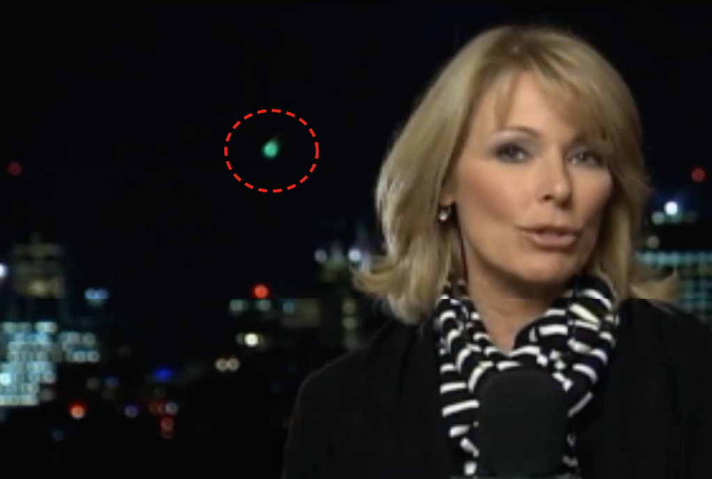 Glowing Green UFO Caught Live On The News, UFO Sightings