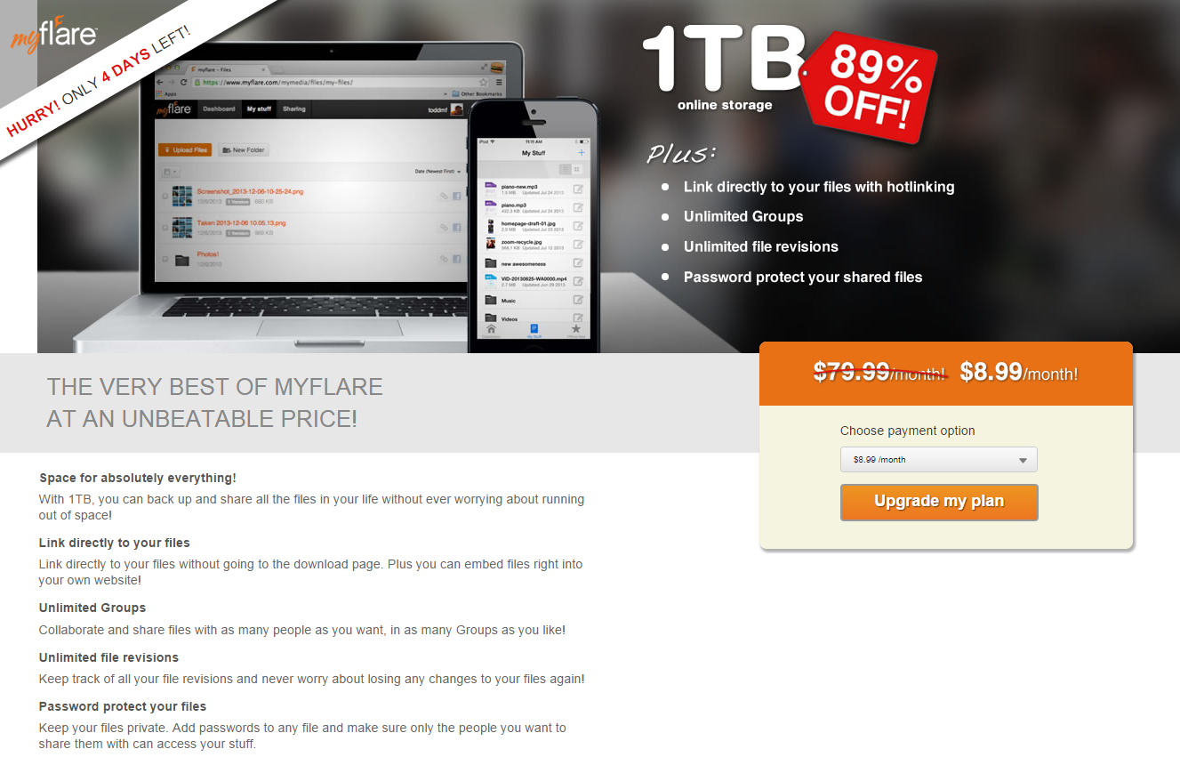 myflare 1TB 4 day promotion flyer