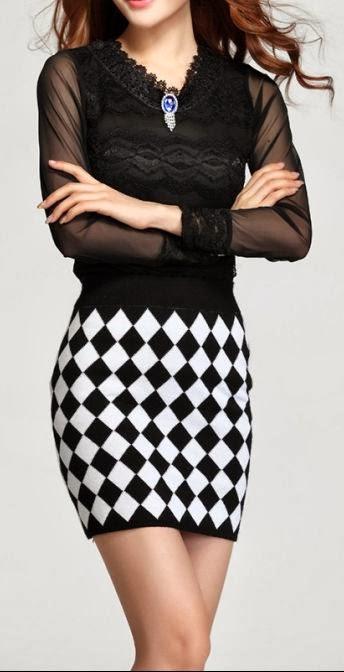 Black Long Sleeve Shirt With Black&White Skirt