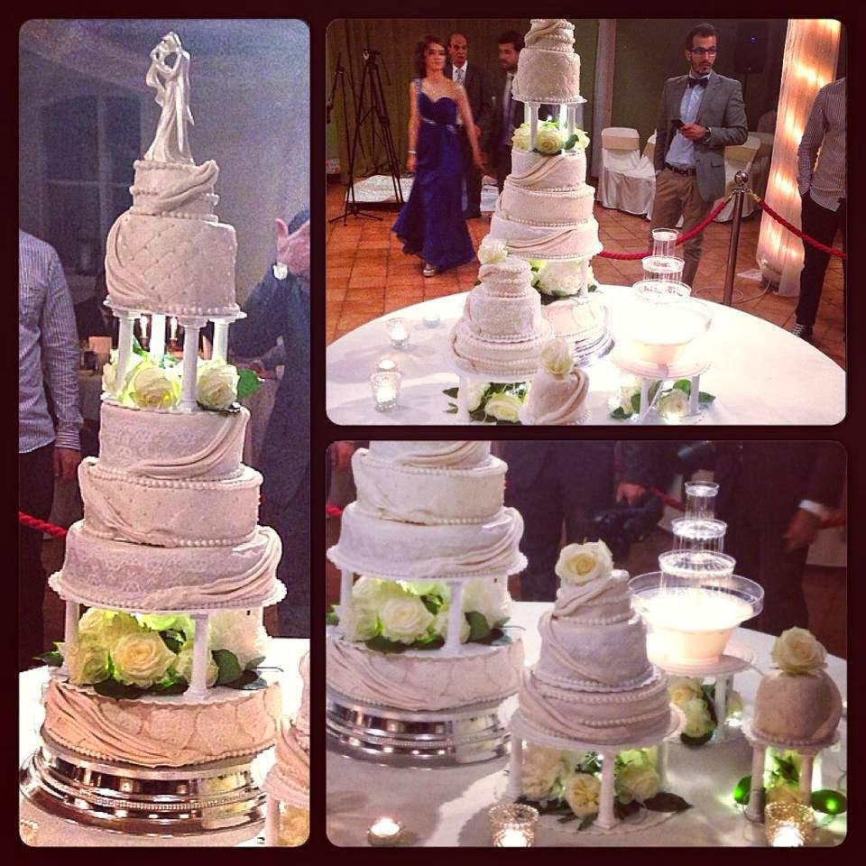 bröllopstårta med fontän