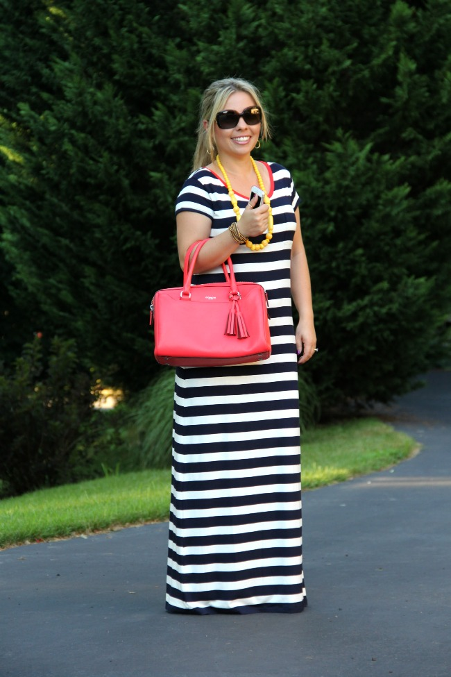 Stripped Maxi Dress form Gap, Sam Edelman Sandals, Coach Legacy,  mid rings, burberry sunglasses, yellow bubble necklace