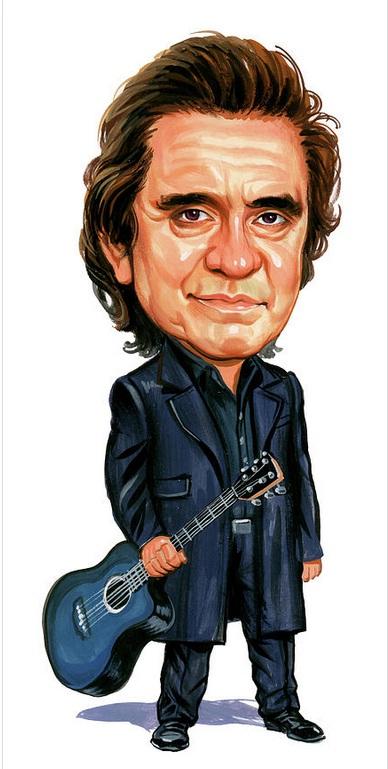 Johnny Cash com um violão na mão