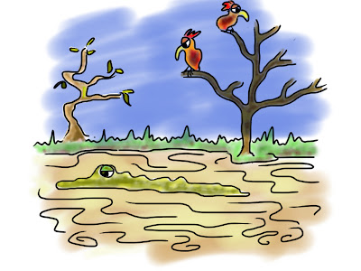Illustration of swamp and morose creatures