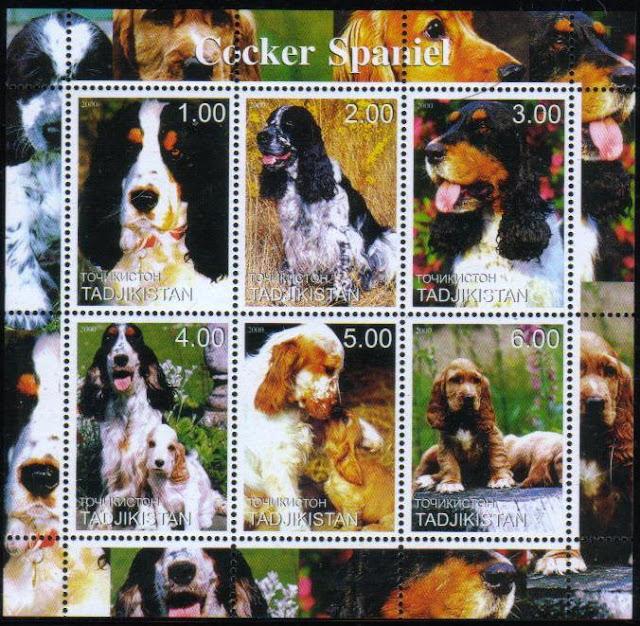 2000年タジキスタン共和国 コッカー・スパニエルの切手シート
