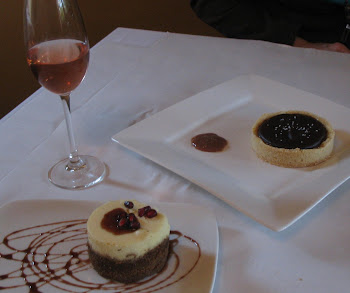 Lemon Chevre Cheesecake and Salted Carmel/Fudge Tart- Outstanding! The Black Cat Bistro