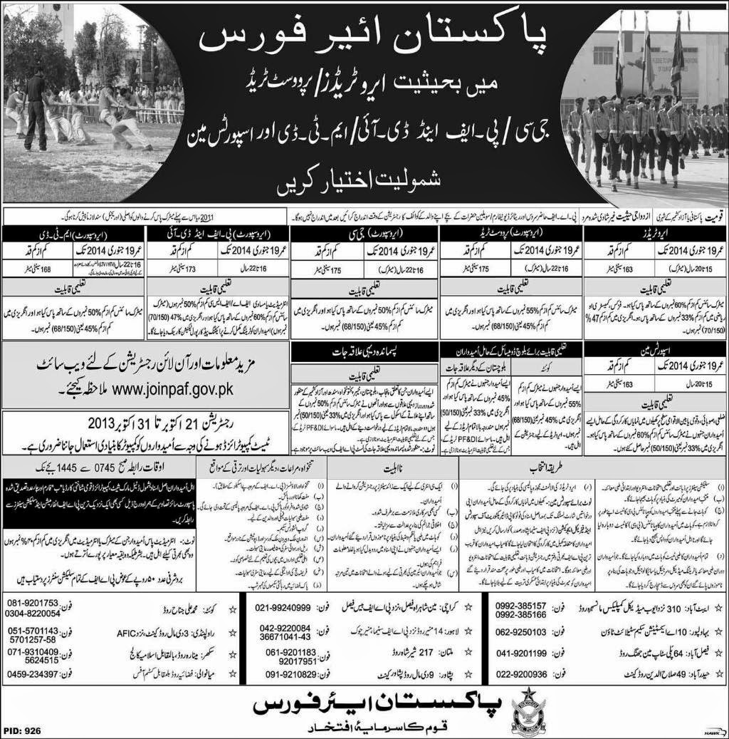 Sportsman Jobs in Pakistan Air Force