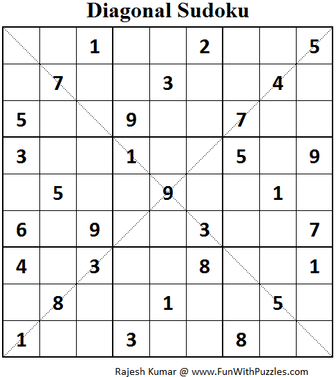 Diagonal Sudoku (Fun With Sudoku #62)