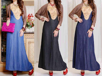 Maxi Dress Chambray Jeans + cardi Kode MGT-9195