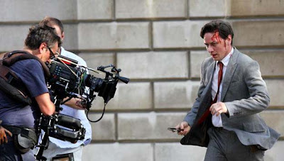 James McAvoy on the set of Danny Boyle's Trance