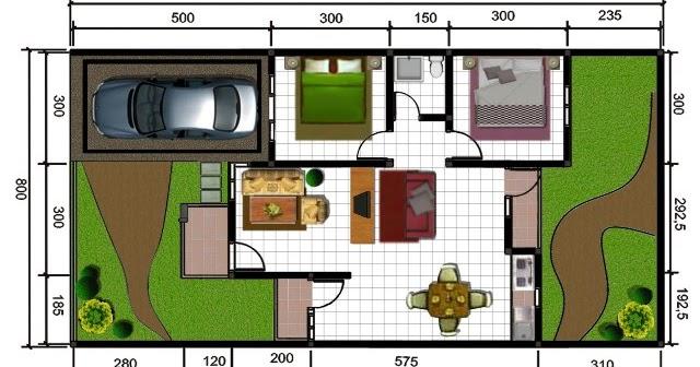 gambar contoh denah rumah minimalis type 60 minimalis
