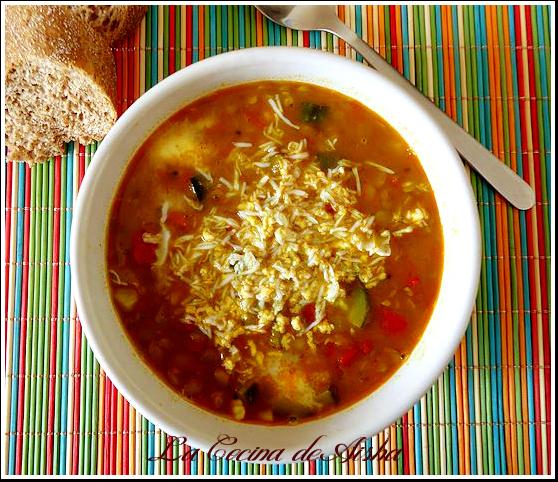 Lentejas con verduras y mozzarella