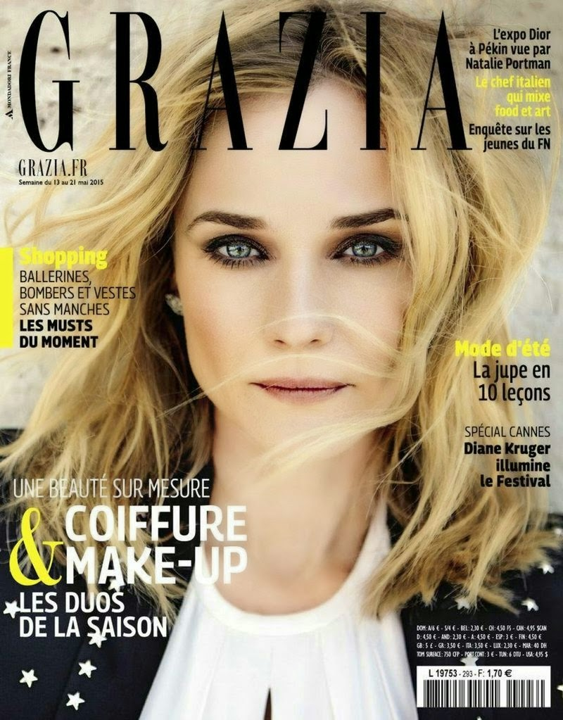 Actress, Model @ Diane Kruger by Martin Lidell for Grazia France, May 2015