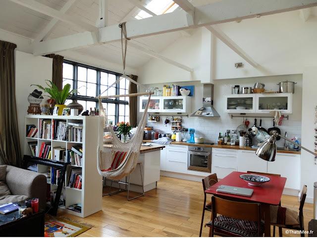 Salon et Salle à manger Ikea , hamac eBay, Maison de Ville table diner antiquaire flea market Londres, verrière batiment industriel Londres Dalston décoration