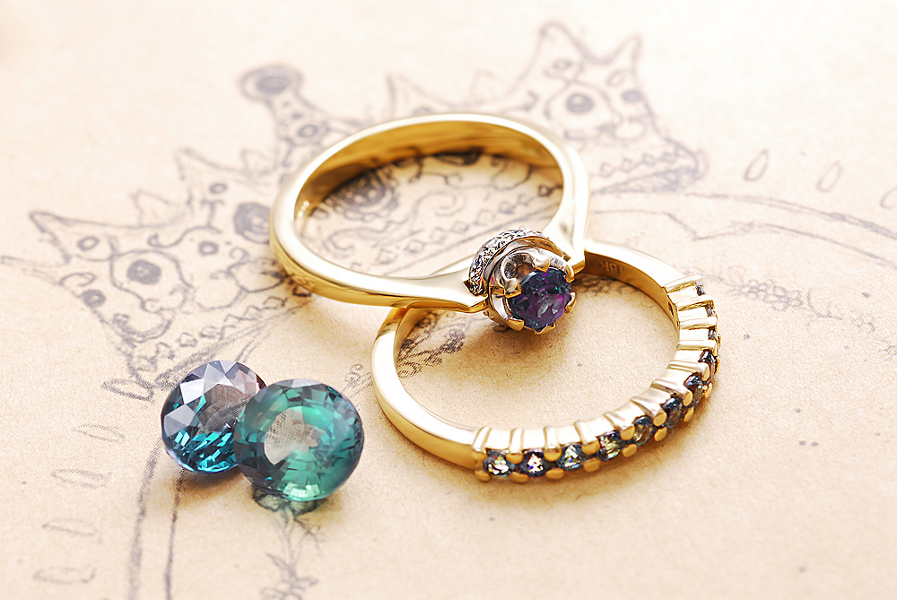 alexandrite collection rings with moon product engagement ring pave and stars celeste diamond