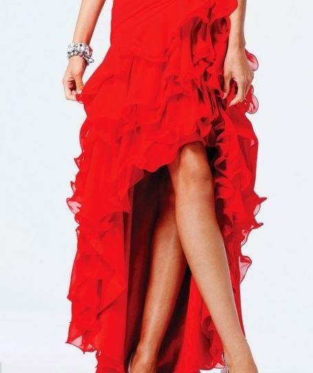 Vestido de Fiesta con Falda Asimetrica con Volados