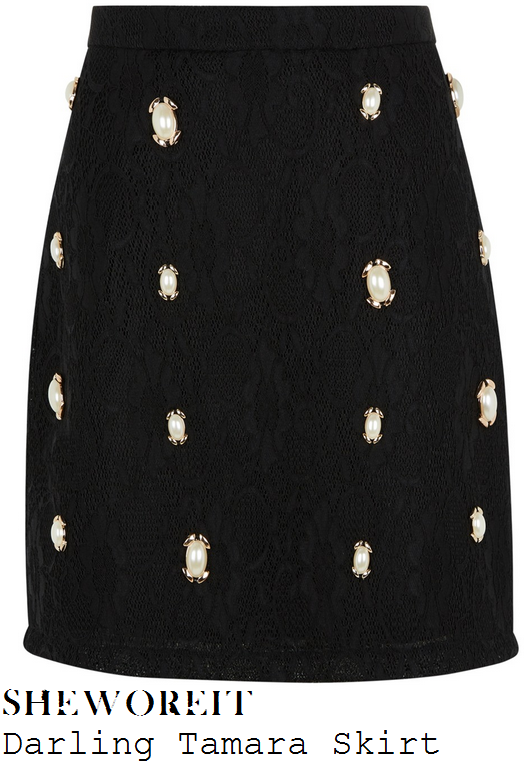 rochelle-humes-black-embellished-lace-a-line-skirt-this-morning