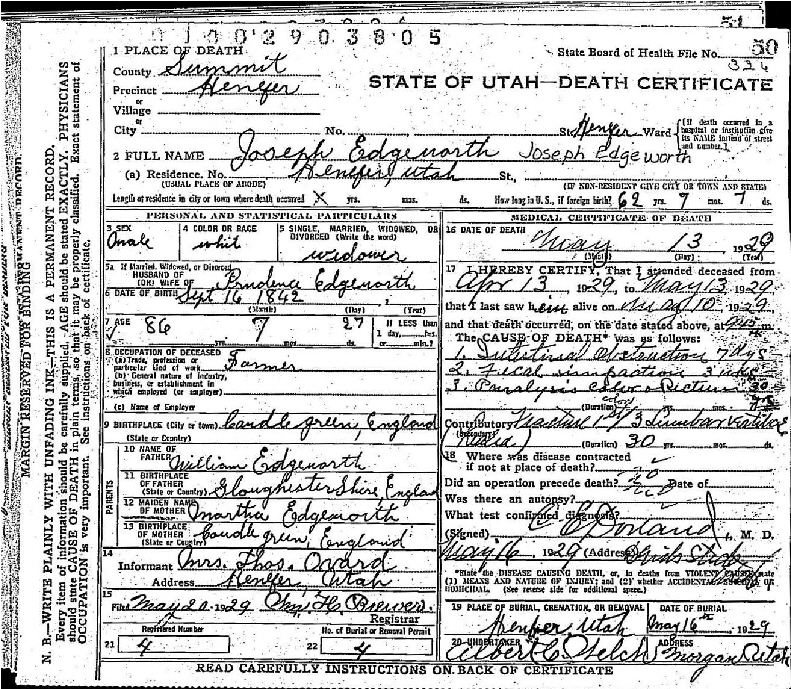 Our Book of Remembrance: Joseph Edgeworth death certificate